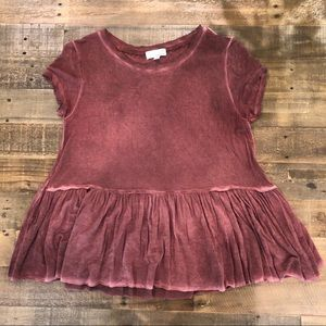 Distressed Peplum Tee